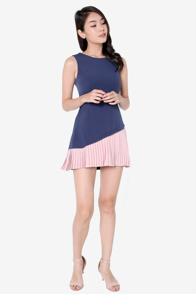 Durbin Pleated Romper (Pink)