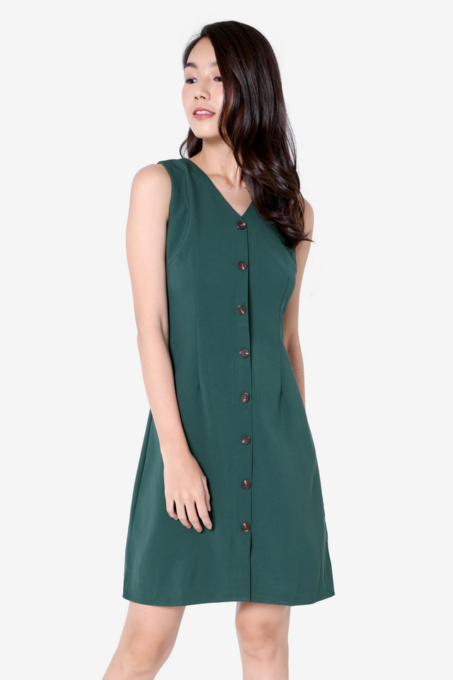 Katrice Button Down Skater Dress (Forest Green)