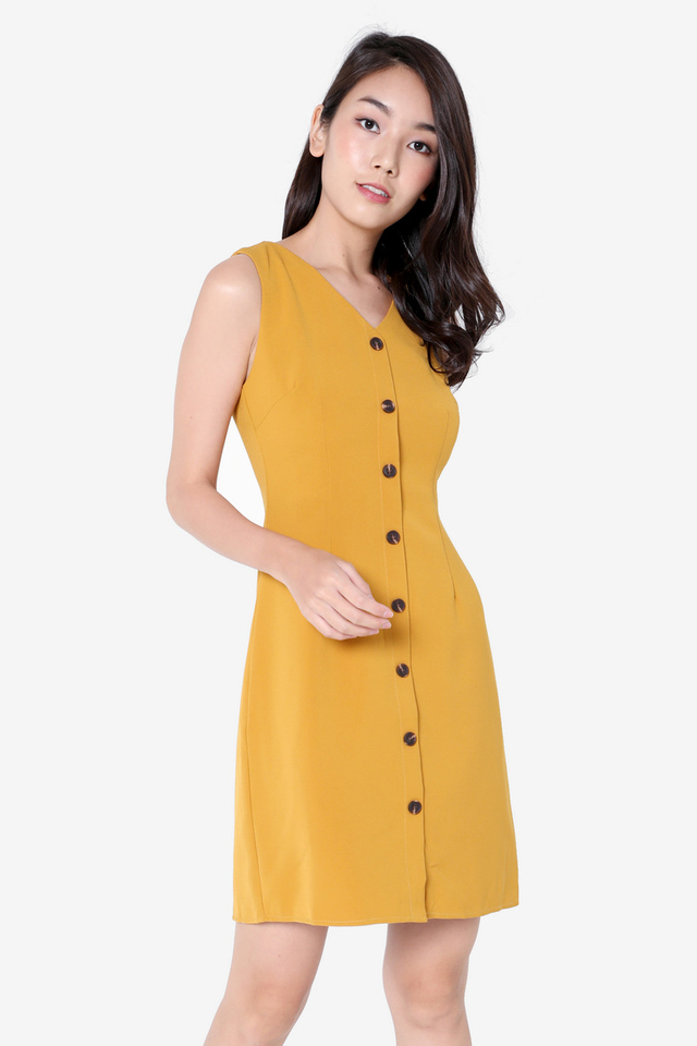 Katrice Button Down Skater Dress (Mustard)