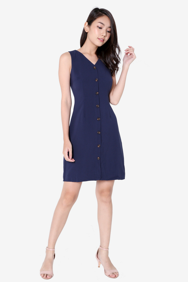 Katrice Button Down Skater Dress (Navy Blue)