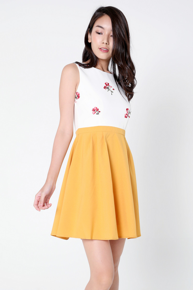 Lesha Floral Embroidery Skater Dress (Mustard)