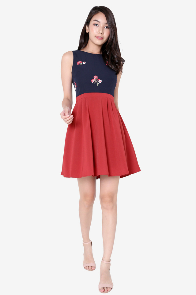Lesha Floral Embroidery Skater Dress (Wine)