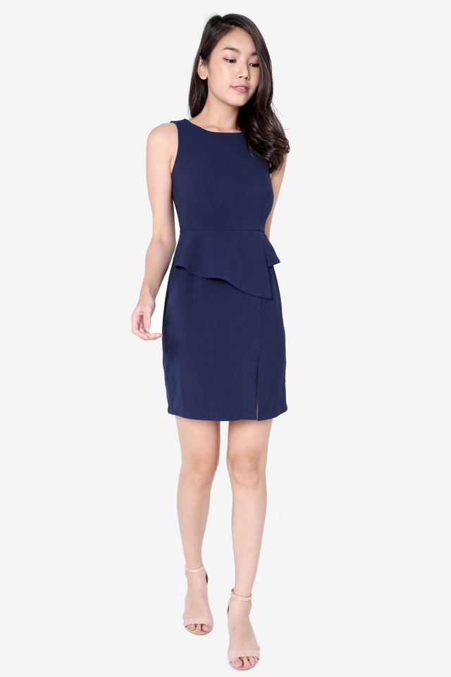 Ruth Peplum Dress (Navy Blue)