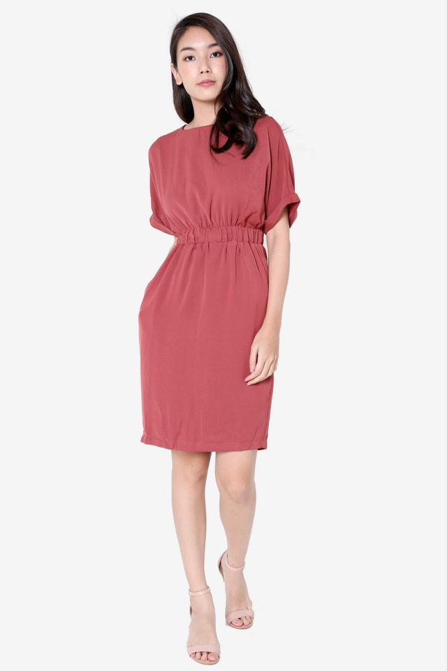 Ashe Batwing Sleeved Dress (Tea Rose)