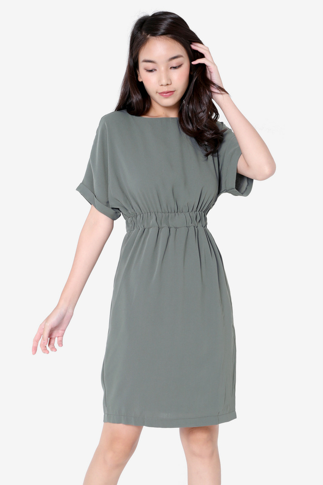 Ashe Batwing Sleeved Dress (Green)
