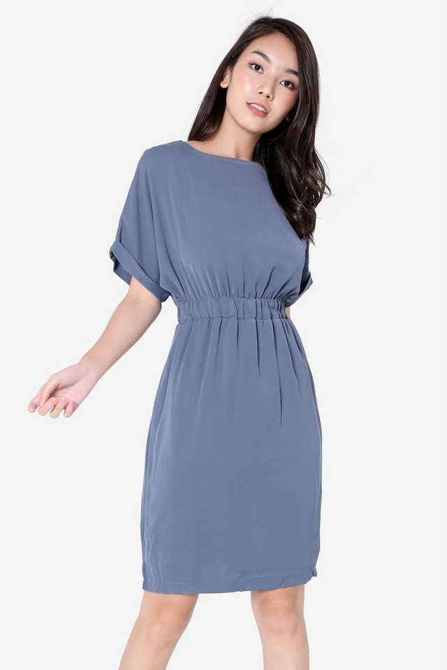 Ashe Batwing Sleeved Dress (Blue)