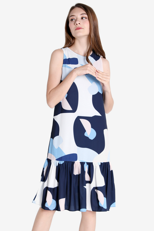 Kaye Abstract Midi Dress (Navy Blue)