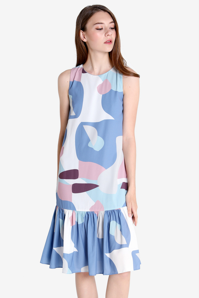 Kaye Abstract Midi Dress (Sky Blue)