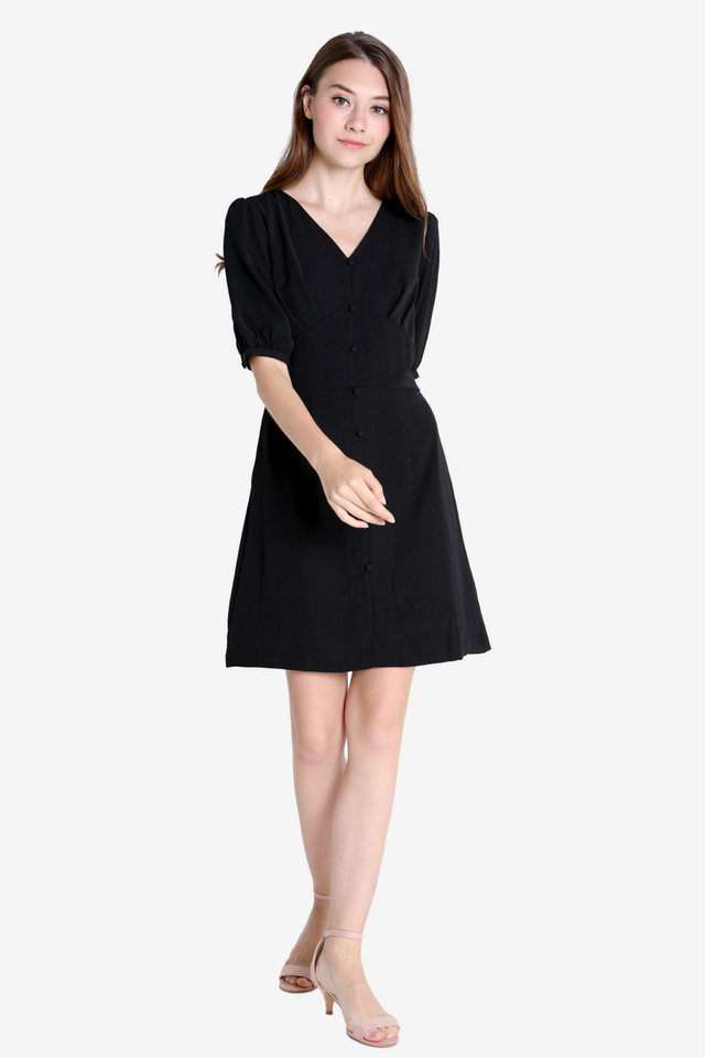 Sherlie Button Sleeved Dress (Black)
