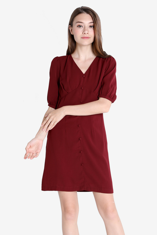 Sherlie Button Sleeved Dress (Wine)