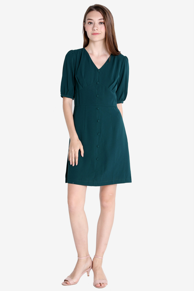 Sherlie Button Sleeved Dress (Forest Green)