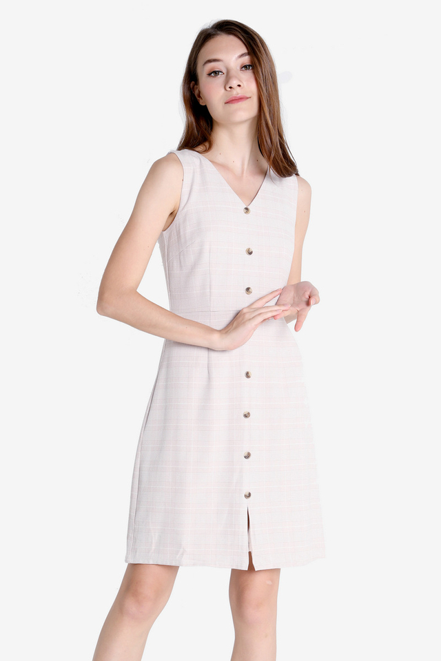 Eleanor Work Dress (Cream Plaids)