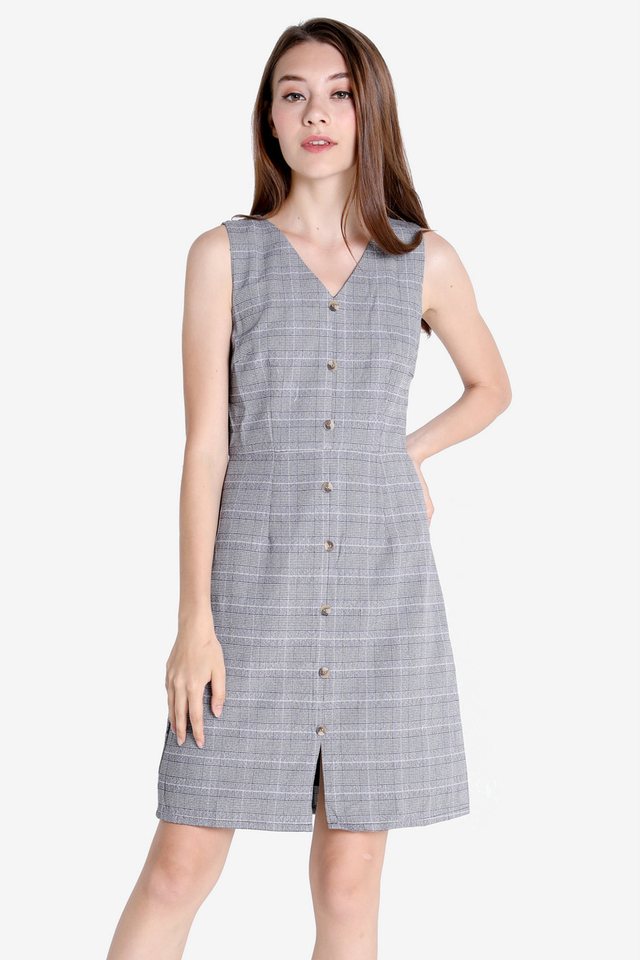 Eleanor Work Dress (Grey Plaids)