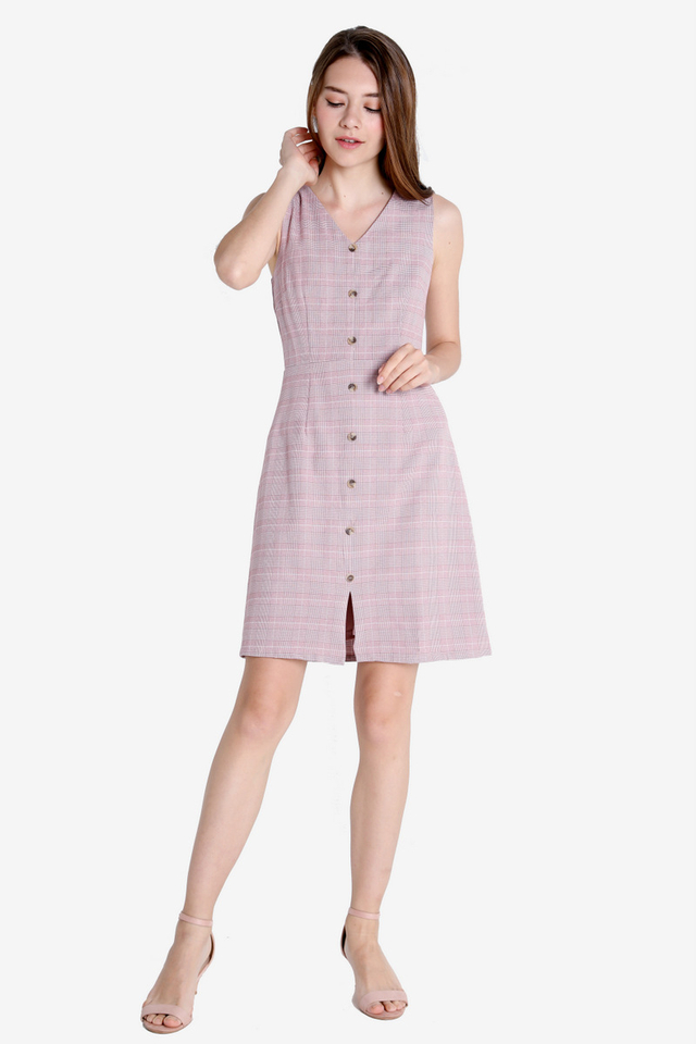 Eleanor Work Dress (Pink Plaids)