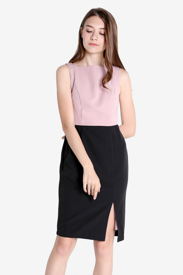 Heather Half-Half Boat Neck Dress (Pink/Black)