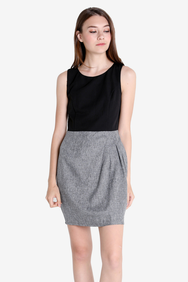 Elsie Tulip Work Dress (Black)