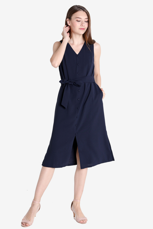 Gricelda Button Dress (Navy)