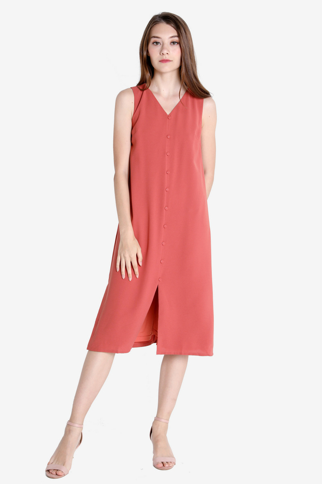 Gricelda Button Dress (Pink-Orange)