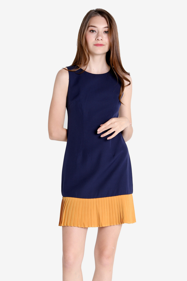 Leana Colourblock Trapeze Dress (Navy/Mustard)