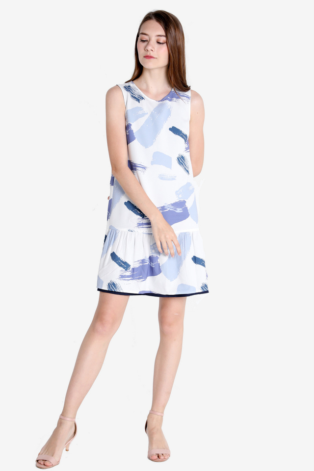 Alice Abstract Reversible Dress (White Base)