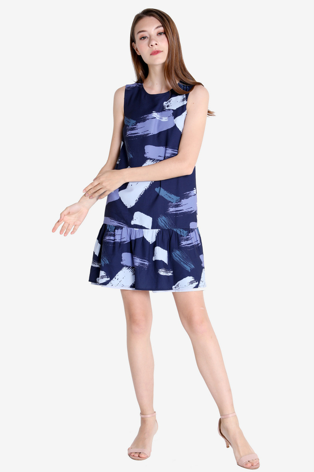 Alice Abstract Reversible Dress (Navy Base)