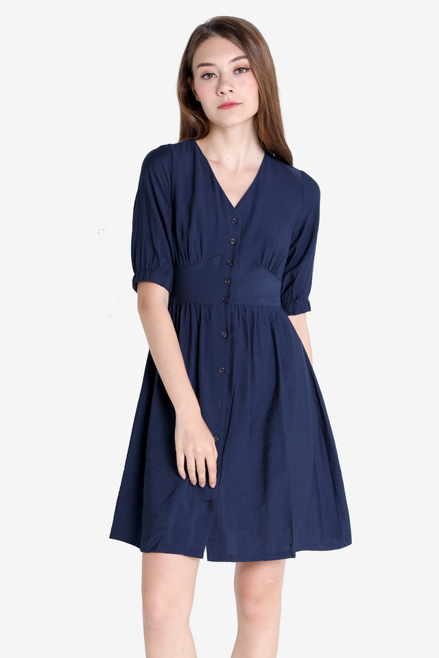 Candis Sleeved Dress (Navy Blue)