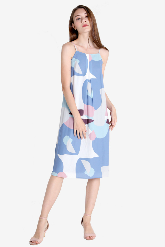 Ellie Digital Print Strap Dress (Sky Blue)