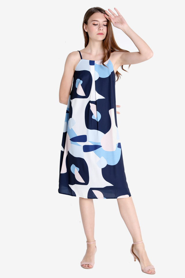 Ellie Digital Print Strap Dress (Navy Blue)