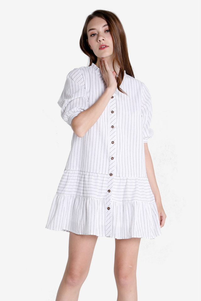 Hubert Dropwaist Dress (White)