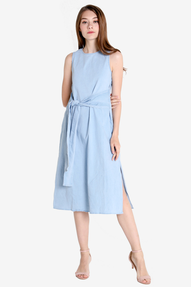 Denim Waist Tie Dress (Light wash)
