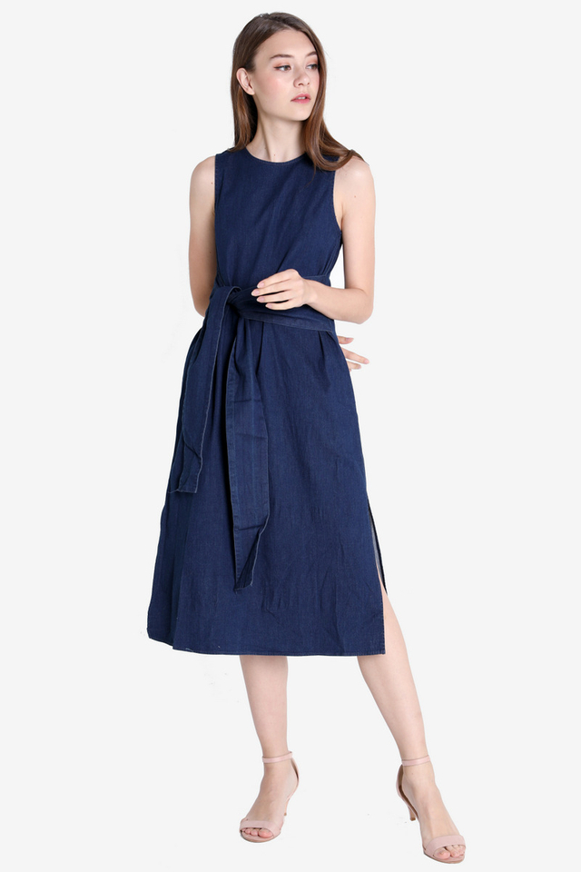 Denim Waist Tie Dress (Dark Wash)