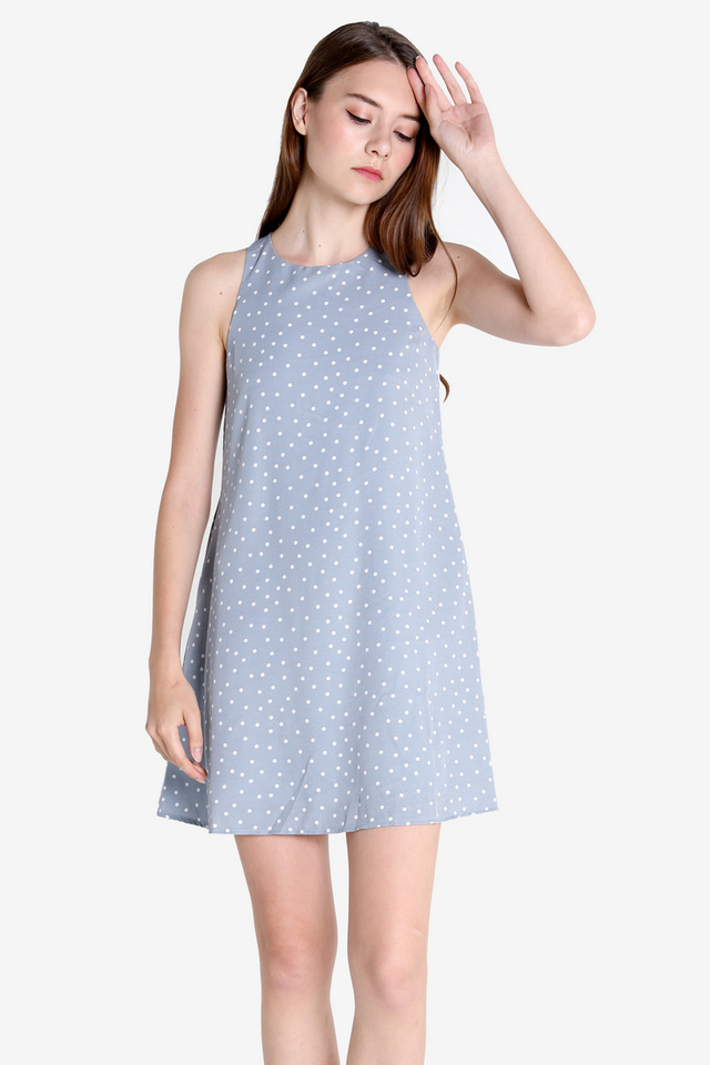 Darcie Pocket Trapeze Dress (Sky Blue Dots)