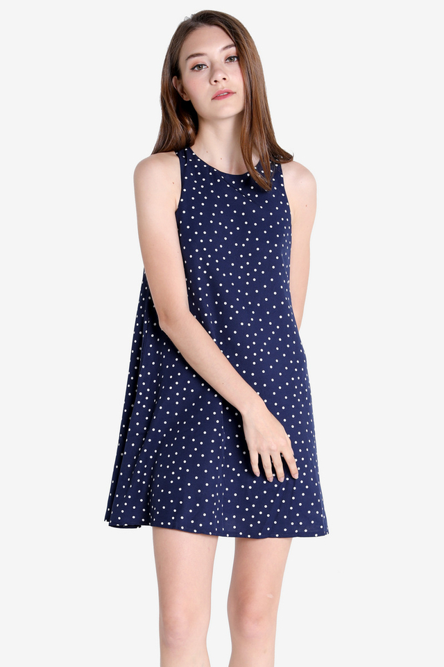 Darcie Pocket Trapeze Dress (Navy Blue Dots)