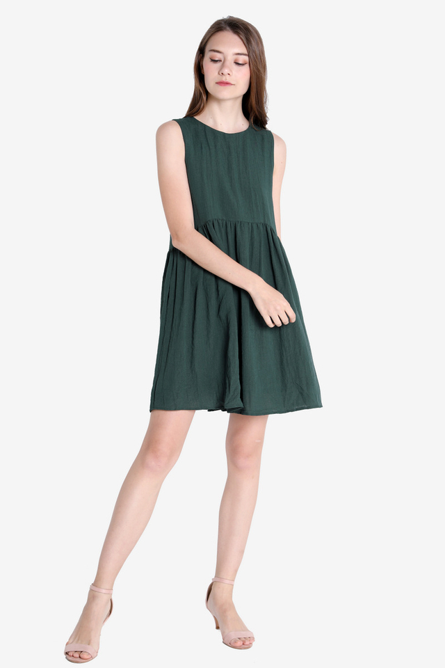 Reyes Babydoll Dress (Forest Green)