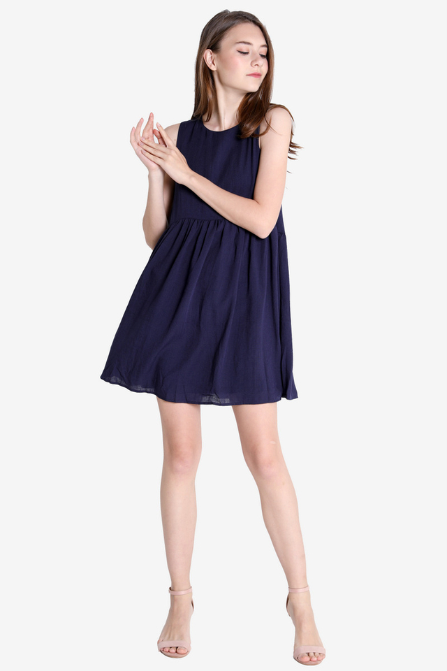 Reyes Babydoll Dress (Navy Blue)
