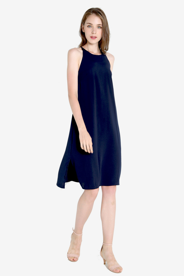 Zetta Midi Slip Dress (Navy Blue)