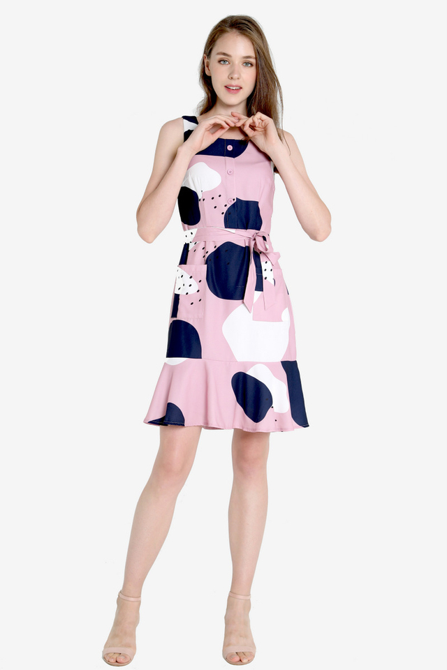 Asther Abstract Front Pockets Dress