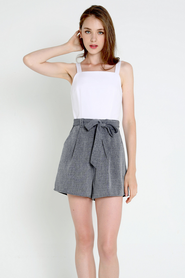 Adela Thick Strap Romper (White/Tweed)