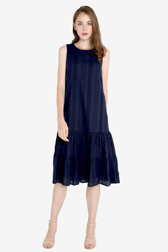 Milly Eyelet Midi Dress (Navy Blue)