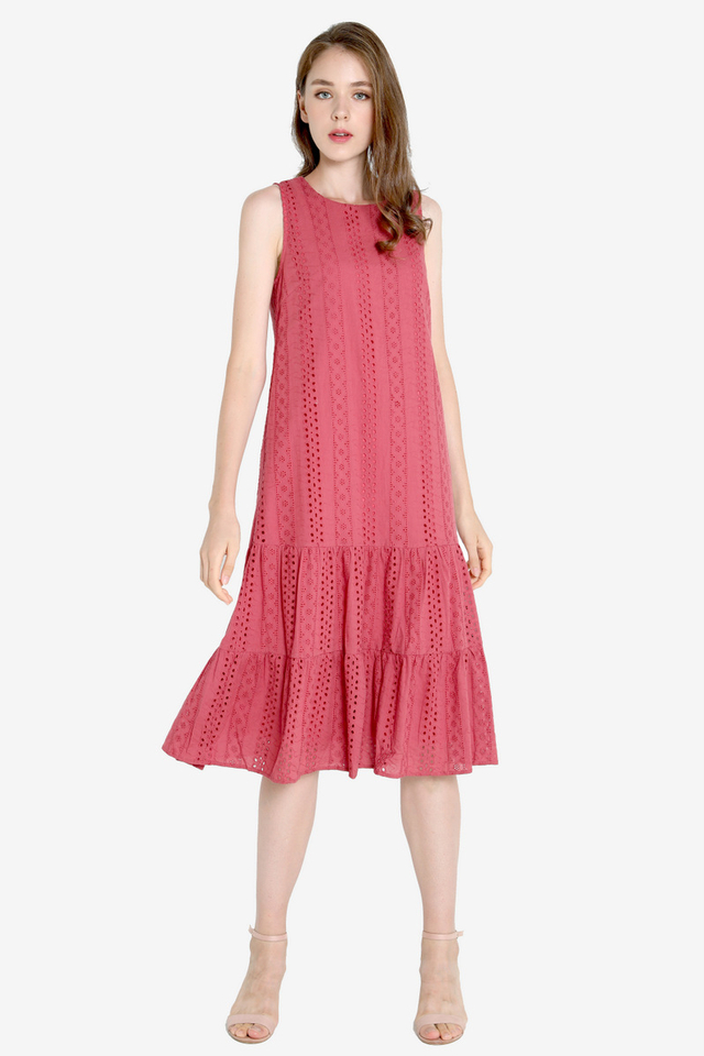 Milly Eyelet Midi Dress (Tea Rose)