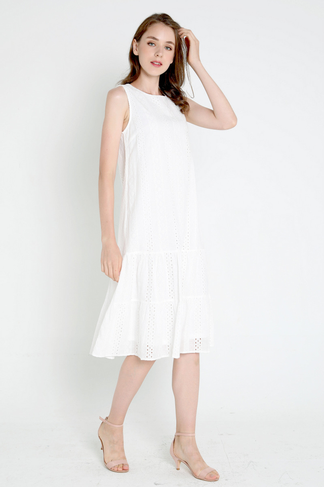 Milly Eyelet Midi Dress (White)