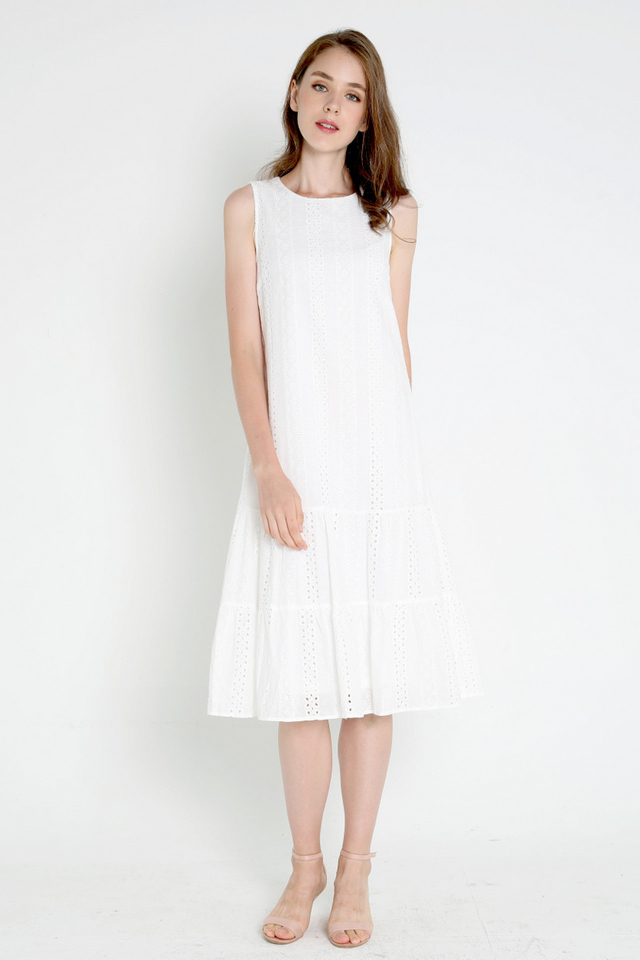 *Restocked* Milly Eyelet Midi Dress (White)