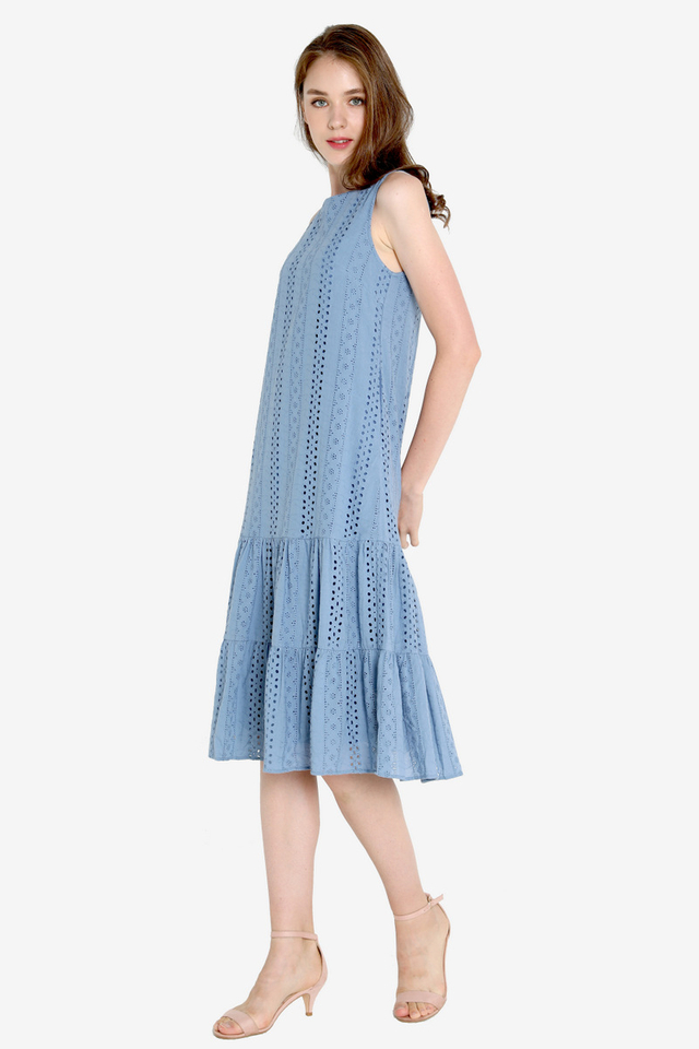 Milly Eyelet Midi Dress (Cornflower Blue)