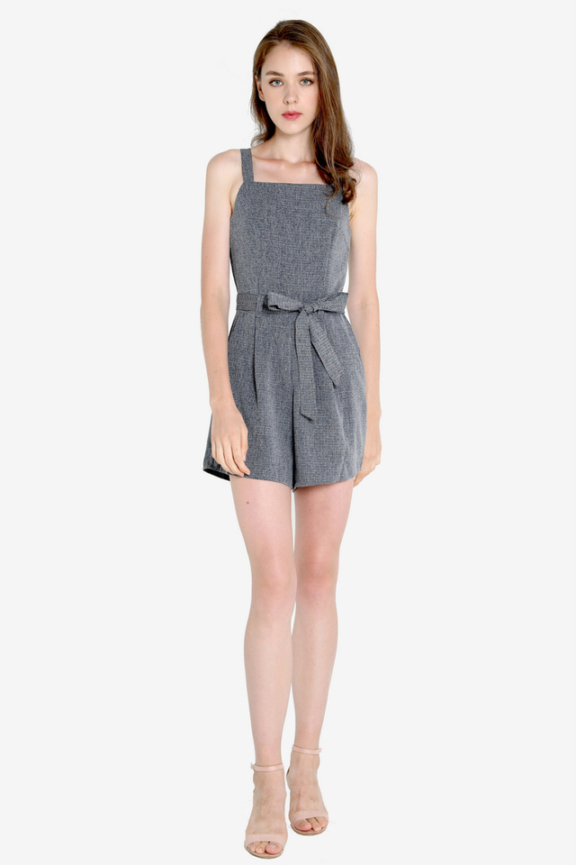 Adela Thick Strap Romper (Tweed)