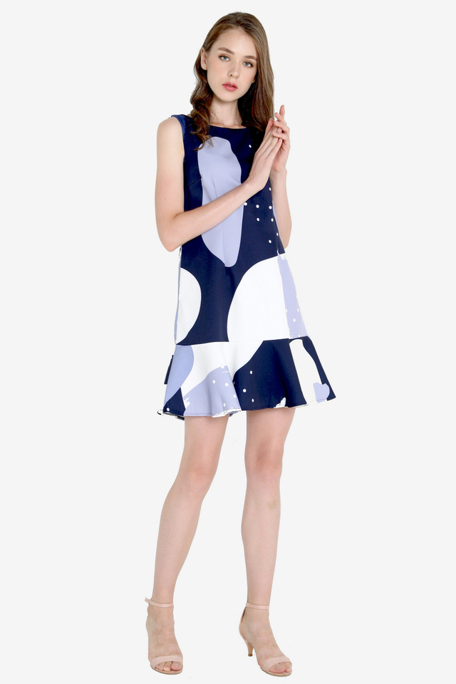 Saunders Abstract Print Mermaid Dress (Blue)