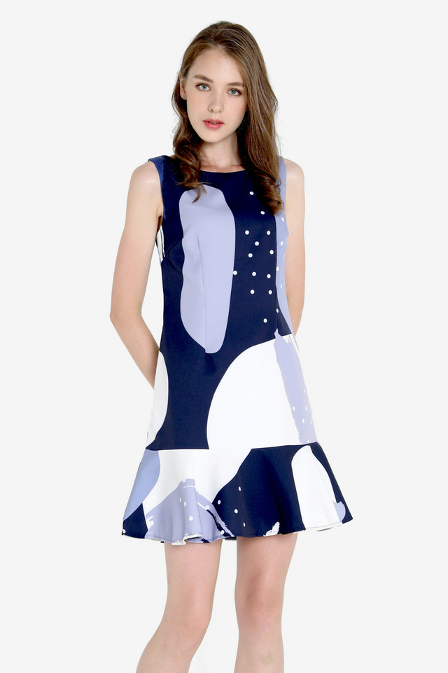 PO: Saunders Abstract Print Mermaid Dress (Blue)