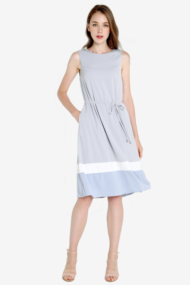 Ava Colourblock Midi Dress (Grey)