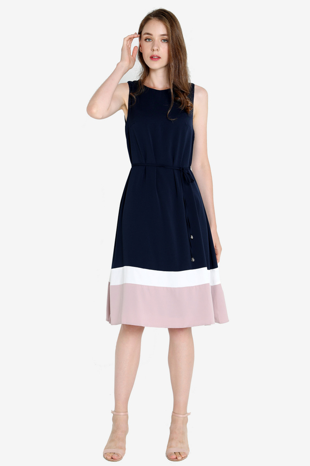 Ava Colourblock Midi Dress (Midnight Blue)