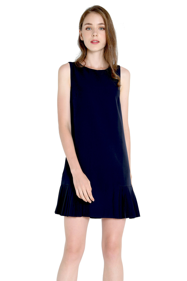 Ossie Side Pleat Dress (Navy Blue)