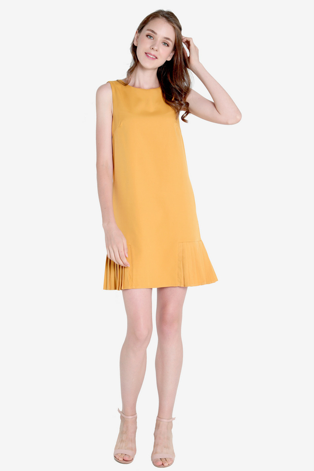 Ossie Side Pleat Dress (Mustard)